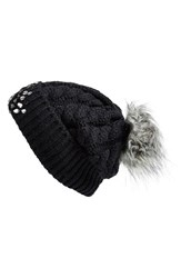 Women's Betsey Johnson 'Rainbow' Beanie Black
