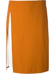 3.1 Phillip Lim Leather Panel Skirt Yellow And Orange