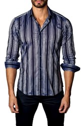 Jared Lang Men's Trim Fit Vertical Stripe Sport Shirt Navy Plaid