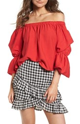 Lush Puff Sleeve Off The Shoulder Top Red