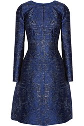 Oscar De La Renta Metallic Silk Blend Jacquard Dress Navy