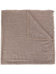 Faliero Sarti Sequinned Frayed Scarf Neutrals