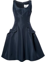 Carolina Herrera 'Faille Pocket' Dress Blue