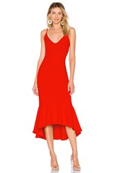 Susana Monaco Ruffle Hem Dress Red