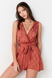 Ecote Rayna Patterned Surplice Romper Rust