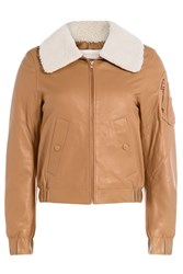 See By Chloe Leather Bomber Jacket Camel