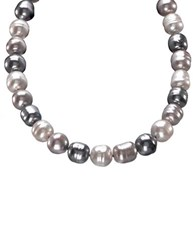 Majorica Multi Colored Organic Man Made Pearl Necklace Silver