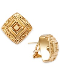 Macy's 14K Gold Textured Omega Clip Square Earrings