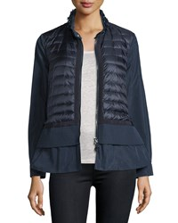 Moncler Cyclamen Peplum Quilted Front Jacket Women's Navy