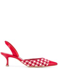 Manolo Blahnik Slingback Houndstooth Sandals Red