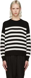 Saint Laurent Black And White Stripe Crewneck