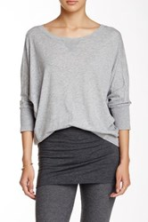 Splendid Dolman Sleeve Thermal Knit Tee Gray