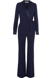 Diane Von Furstenberg Margot Satin Trimmed Crepe Wrap Jumpsuit Midnight Blue
