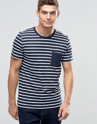 Jack And Jones Striped T Shirt With Contrast Pocket Navy