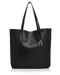Etienne Aigner Joan Pebbled Leather Tote Black Gold