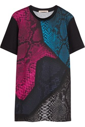 Christopher Kane Snake Print Cotton Jersey T Shirt Black