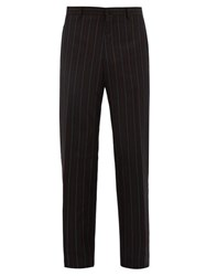 Lanvin Pinstriped Wool Blend Trousers Blue Multi