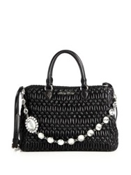Miu Miu Crystal Accented Matelasse Leather Satchel Black
