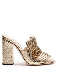 Gucci Marmont Fringed Leather Sandals Gold
