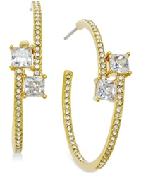 Eliot Danori Gold Tone Crystal Bypass Hoop Earrings