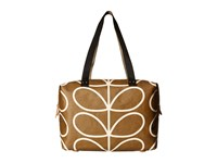 Orla Kiely Matt Laminated Giant Linear Stem Print Zip Shopper Camel Handbags Tan