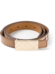 Burberry London Plaque Buckle Belt Nude And Neutrals