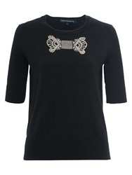 French Connection Jewel Bow Knit Jumper Black