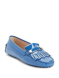 Tod's Fringed Patent Leather Loafers Blue
