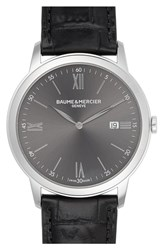 Baume And Mercier Classima Leather Strap Watch 42Mm Black
