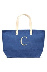 Cathy's Concepts 'Nantucket' Personalized Jute Tote Blue Blue C