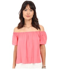 Bb Dakota Sami Rayon Twill Off The Shoulder Top Coral Women's Blouse