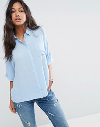 Asos Boxy Blouse In Crinkle Light Blue