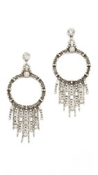Dannijo Mila Earrings Ox Silver Clear White