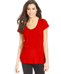 Style And Co. Sport Short Sleeve Scoop Neck Tee Only At Macy's New Red Amore