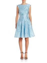 Talbot Runhof Jacquard Fit And Flare Cocktail Dress Blue