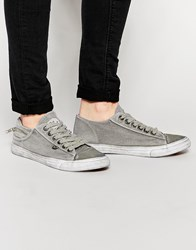 Bronx Washed Canvas Plimsols In Gray Gray