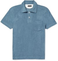 Tom Ford Slim Fit Cotton Terry Polo Shirt Petrol