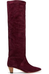 Iro Woman Drapy Suede Knee Boots Burgundy