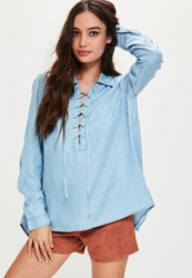 Missguided Blue Lace Up Split Back Shirt