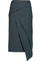 Raoul Lark Layered Cotton Blend Midi Skirt Anthracite