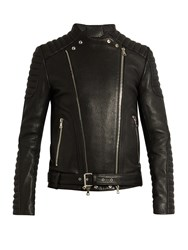 Balmain Collarless Grained Leather Biker Jacket Black
