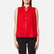Maison Scotch Women's Sleeveless Top With Ruffle Neckline And Ruffle Inserts Red