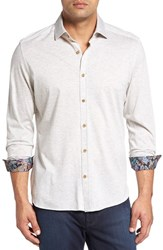 Stone Rose Men's Big And Tall Heather Jersey Knit Sport Shirt Ivory