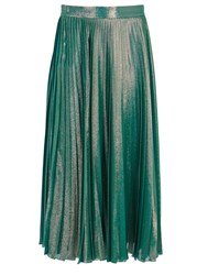 Gucci Iridescent Pleated Silk Blend Lame Skirt Mint