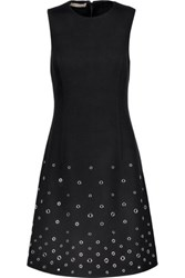 Michael Kors Collection Eyelet Embellished Wool Felt Dress Black