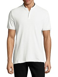 The Kooples Leather Collar Cotton Tee White