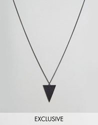 Reclaimed Vintage Inspired Necklace With Triangle Pendant Black