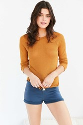 Out From Under Sheer Thermal Long Sleeve Crew Top Mustard