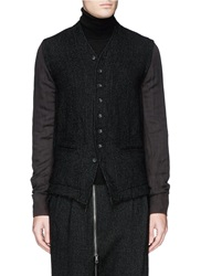 The Viridi Anne Stitch Pinstripe Front Stand Collar Shirt Black