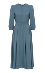 Ulyana Sergeenko Demi Couture A Line Midi Dress Blue